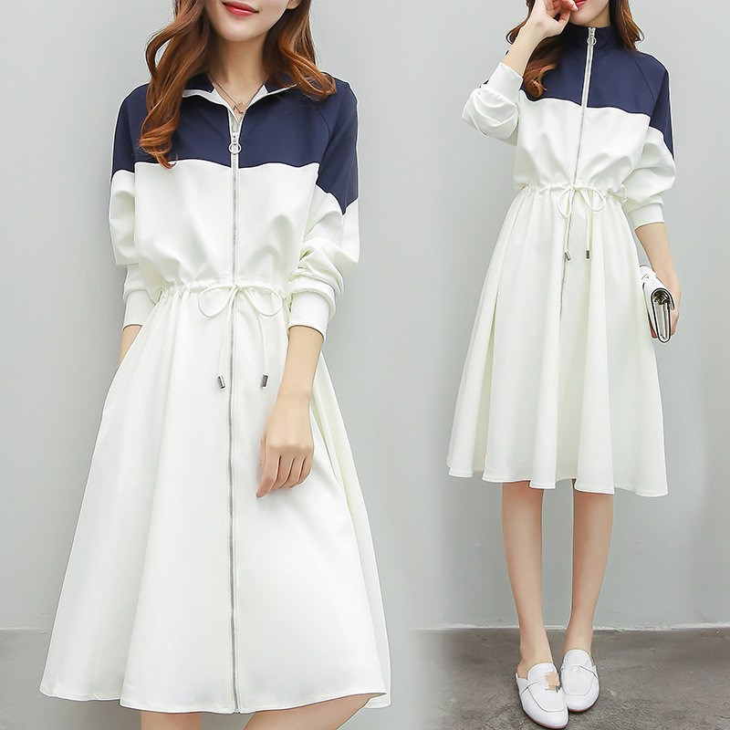 Woman Korean Style Elegant Patchwork A Line Dress Casual