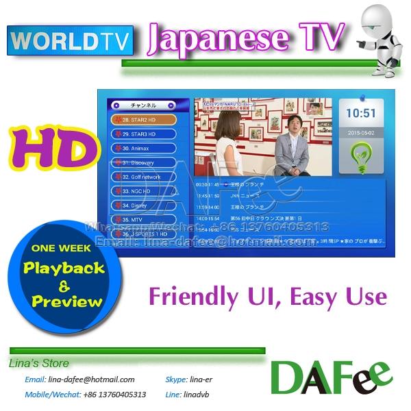 Prix pour Meilleure Qualité Japonais WorldTV Serveur Bon service avec 7 jours la lecture Fonction 50 + plus canaux Rapide Livraison Gratuite