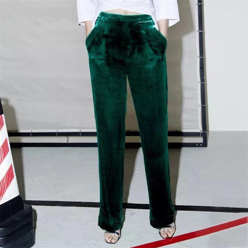 2019 Autumn Spring Gold Velvet Elastic Waist Casual Pants Velour Solid Pants Trousers Straight Trousers Slim Big Size M-6xl 7xl