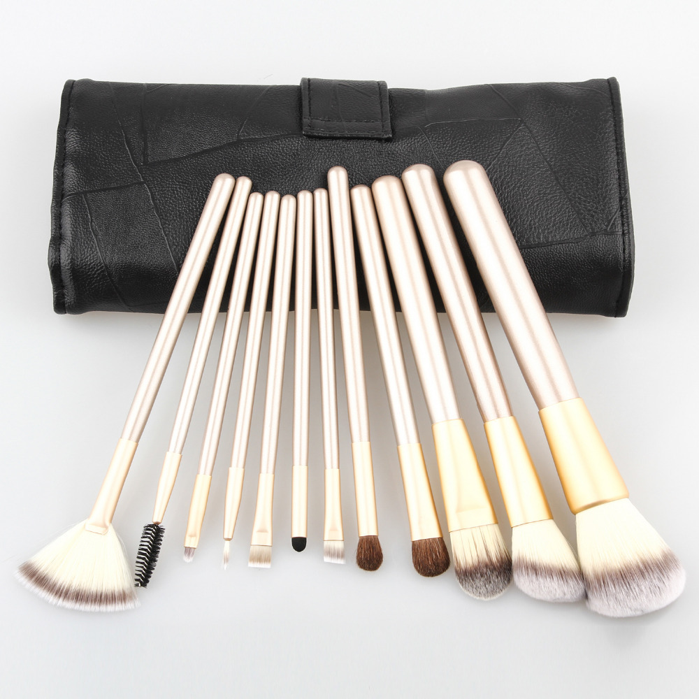 Professional  Very Soft 12pcs Makeup Brushes Set 12 Pcs Cosmetic Make Up Tools with Leather Case, Free Drop Shipping hot sale 2016 soft beauty woolen 24 pcs cosmetic kit makeup brush set tools make up make up brush with case drop shipping 31