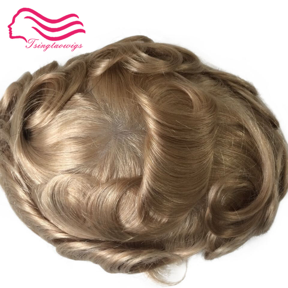 Tsingtaowigs, homens Toupee pele ultra fino 0.02-0.04mm, recolocação do cabelo, cor 22R mentoupee Europeu remy cabelo freeshipping