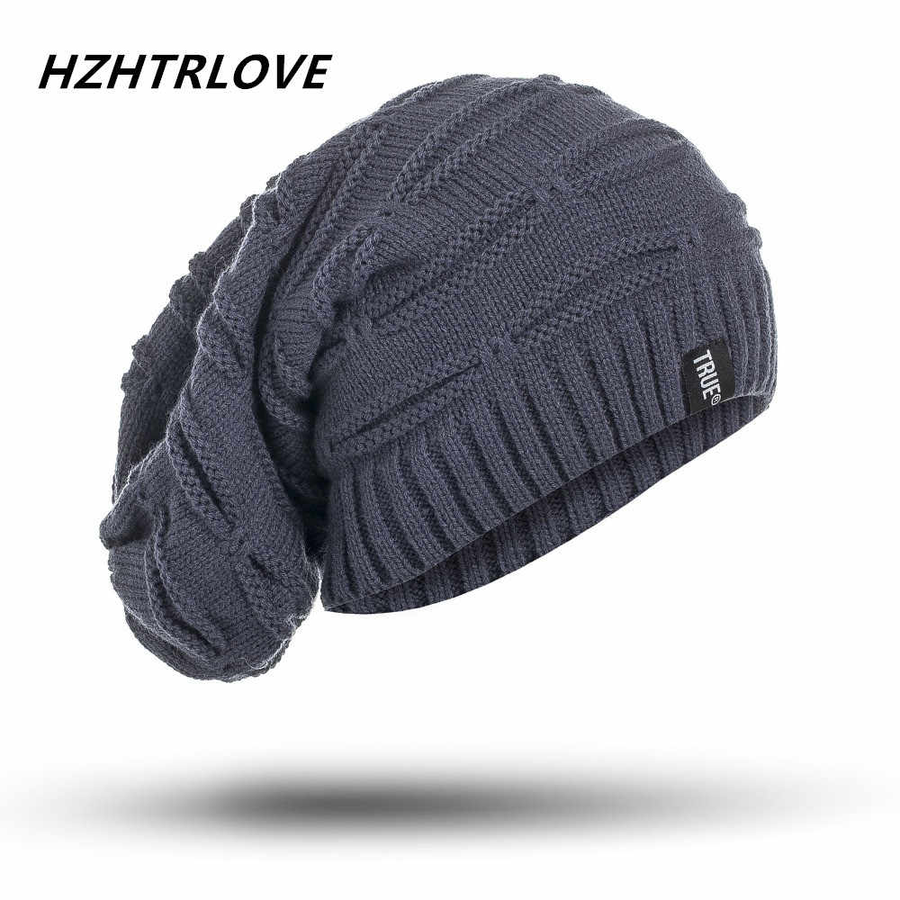 3cf2ea963a9 High Quality Big Size Letter True Casual Beanies for Men Women Knitted  Winter Hat Solid Color