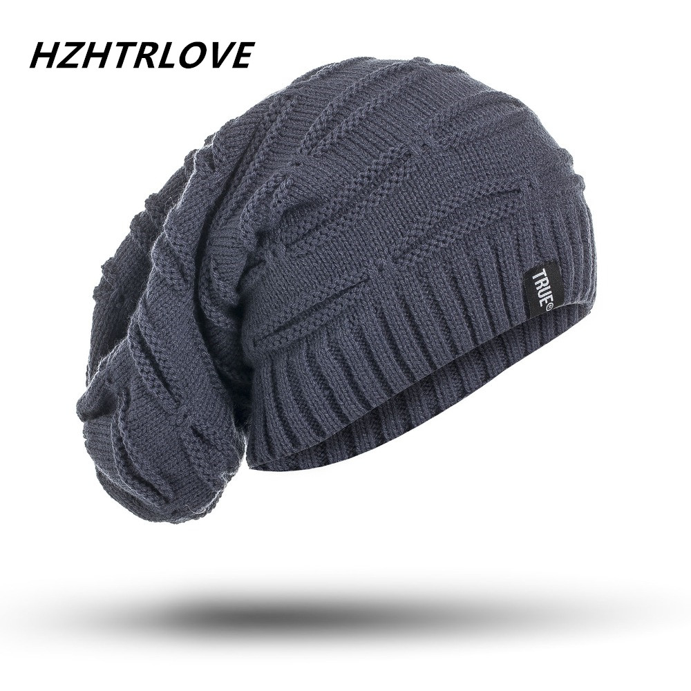 High Quality Big Size Letter True Casual   Beanies   for Men Women Knitted Winter Hat Solid Color Hip-hop   Skullies   Bonnet Unisex Cap