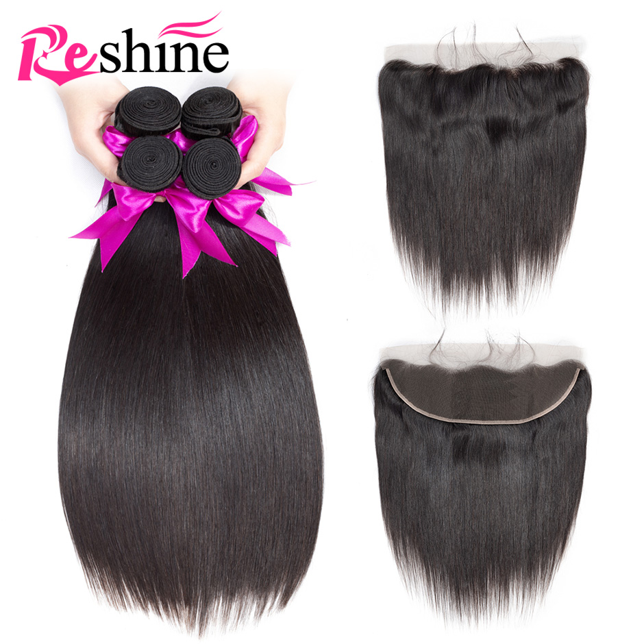 Reshine Brazilian Straight Hair Bundles With Frontal Human Hair Bundles With Frontal Remy Hair 3 Bundles