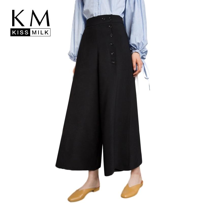 Kissmilk Plus Size 2018 New Arrival Women Black Casual Zipper Fly High Waist   Pant   Female Fashion Button   Wide     Leg     Pants