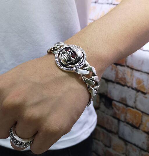 100% S925 solide argent vintage Thai argent bracelet tendance mâle punk style turn bracelet