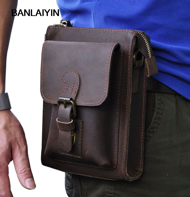 Men Vintage Crazy Horse Genuine Leather Fanny Waist Pack Bag Mobile Phone Case Coin Purse Belt Hip Bum Messenger Shoulder Bags hot sale men canvas waist packs army green solid phone bag hip belt portable man wallet purse case pouch waist bags 2017
