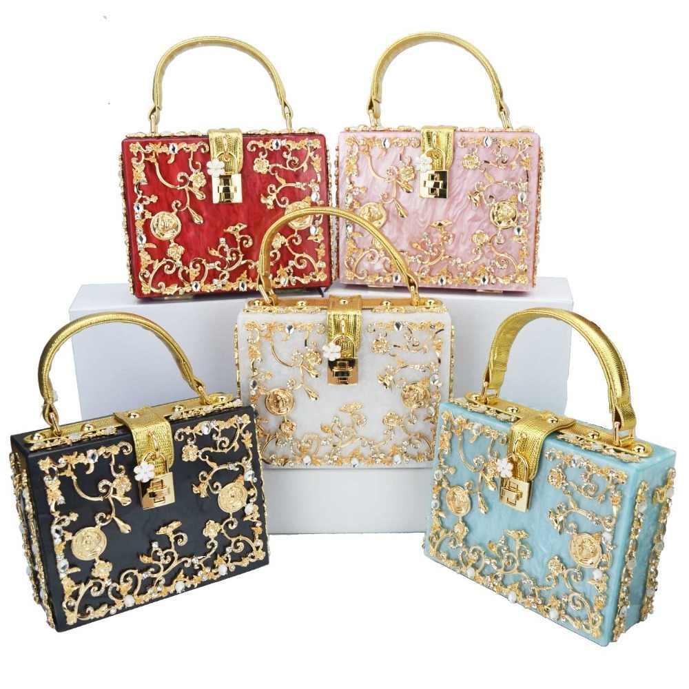 aa28770ac4f Fashion Box evening bag diamond flower Clutch Bag hollow relief Acrylic  luxury handbag banquet party purse