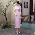 Hot Sale Pink Vintage Silk Satin Cheongsam Qipao Chinese Women Long Summer Dress Flower Mujer Vestido Size S M L XL XXL WC055