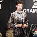 Homem macho dos homens livres do Transporte moda casual Outono inverno nova impressão digital fase casaco flor terno blazer de negócios individuais