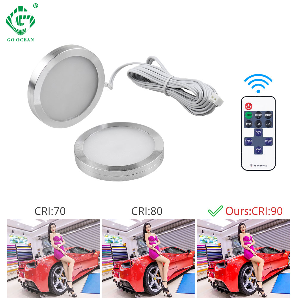 Remote Control LED Under Cabinet Light Kitchen Puck Lights Wardrobe Lamp Cupboard Closet Night Lighting 2.5W 12V DC Cabinet Led