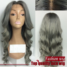 Free Shipping Heat Resistant Fiber Body Wavy Synthetic Hair Wig in Grey Color Synthetic Lace Front