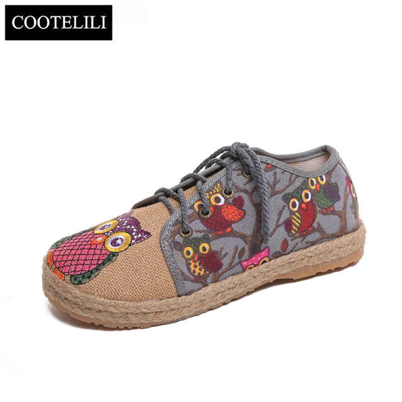 COOTELILI Oxford Flat Shoes Women Loafers Flax Slip on Round toe Owl Print  Breathable Feminino Red 7f95d0af6b6e