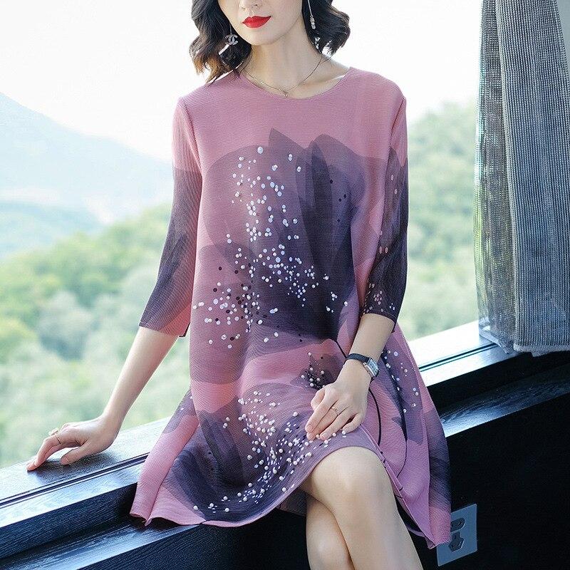 Summer Dress Plus Size Floral Printed Dress New OL Fashion Women Casual Elegant Loose Miyake Pleats For Women Weight 45-80kg