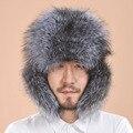 2016 новый стиль мужские шляпы зима теплая лисий мех шляпа господа роскошные Натуральной кожи Earflap теплые шапки для мужа