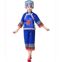 Chinese Folk Dance Girl Short Sleeve Hmong Costumes Miao Costumes Ethnic Minority Costumes Zhuang Dai Dance with Hat