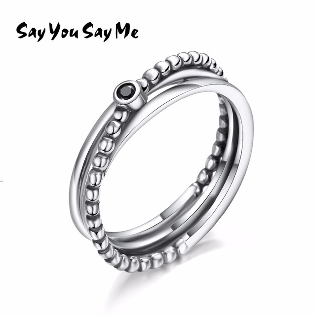 925 Sterling Silver Black Zircon Ring Wedding&Engagement Jewelry Multi-layer Rop