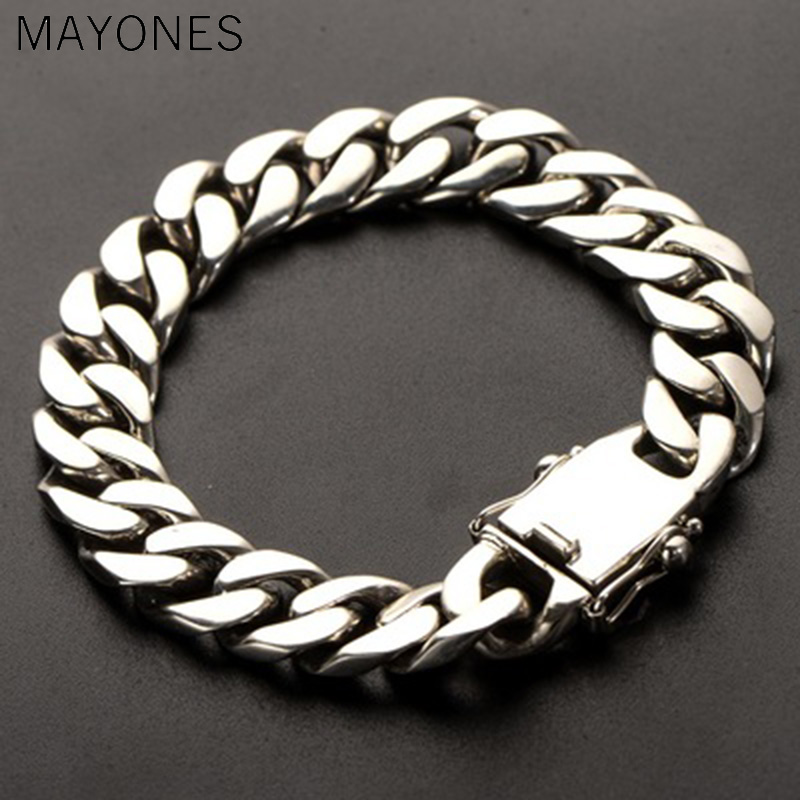 11mm width Genuine 925 Sterling Silver Jewelry Heavy Bracelet For Men 23CM Vintage Punk Style fashion hip hop bracelet11mm width Genuine 925 Sterling Silver Jewelry Heavy Bracelet For Men 23CM Vintage Punk Style fashion hip hop bracelet