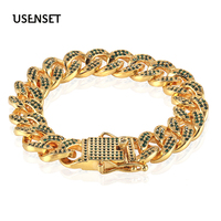 USENSET 12mm Iced Out Bling Cuban Necklace Full Paved Cz Clasp Hip Hop Necklace Bracelet for Men Miami Chain Bracelets