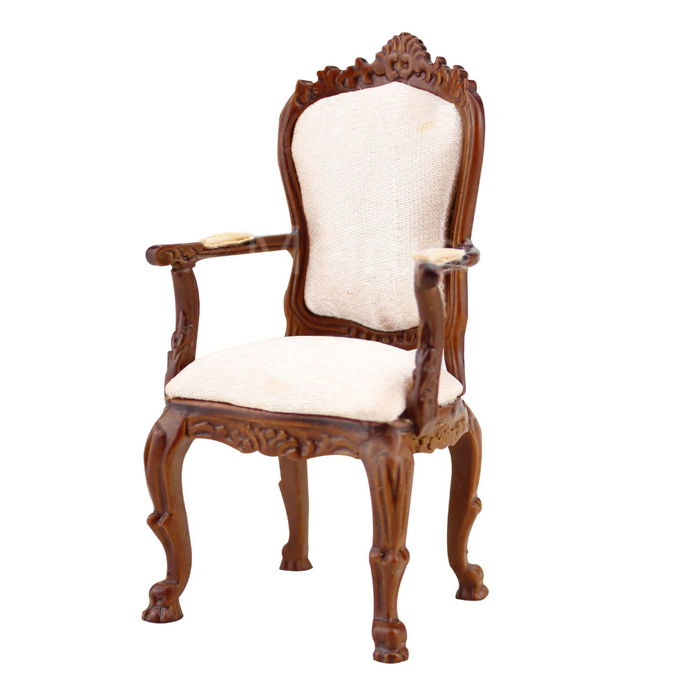 Hand-carved 1//12 Scale Dollhouse Miniature Furniture Handcrafted Wooden Chair