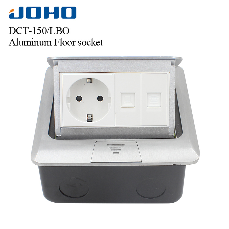 JOHO Socket Pop Up Floor Socket Outlet Box Residential/General-Purpose With 16A European Socket And RJ45 Data Aluminum Panel brass slow pop up floor socket box with 15a 125v us socket rj45 computer data