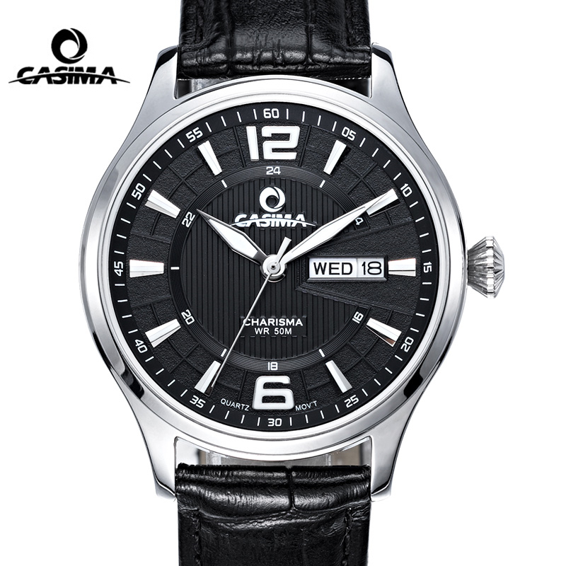 CASIMA Fashion Leather Watch Men Date Week Business Quartz Wrist Watch Clock Waterproof Business Dress Clock