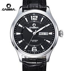 CASIMA Fashion Leather Watch Men Date Week Business Quartz Wrist Watch Clock Waterproof Business Dress Clock Relogio Masculino