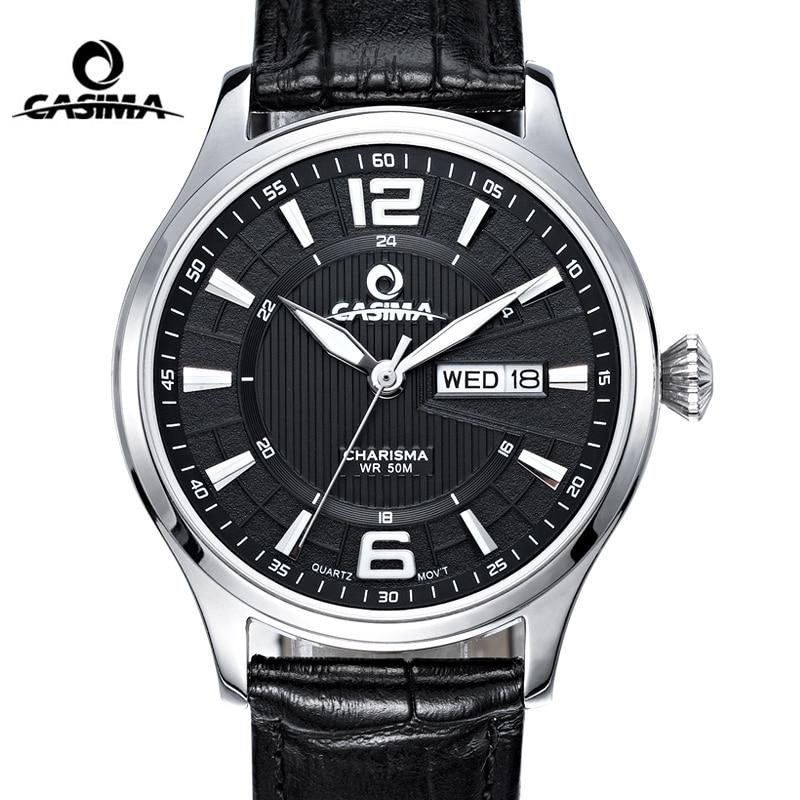 CASIMA mode montre en cuir hommes Date semaine affaires Quartz montre bracelet horloge étanche affaires robe horloge Relogio Masculino-in Montres à quartz from Montres    1