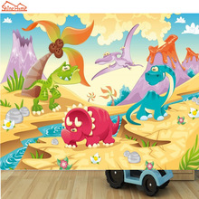 ShineHome-DIY Cartoon Cute Dinosaur Animals Mural Rolls Wall Paper for 3D Living Room Wallpaper Mural Background Wallpaper(China)