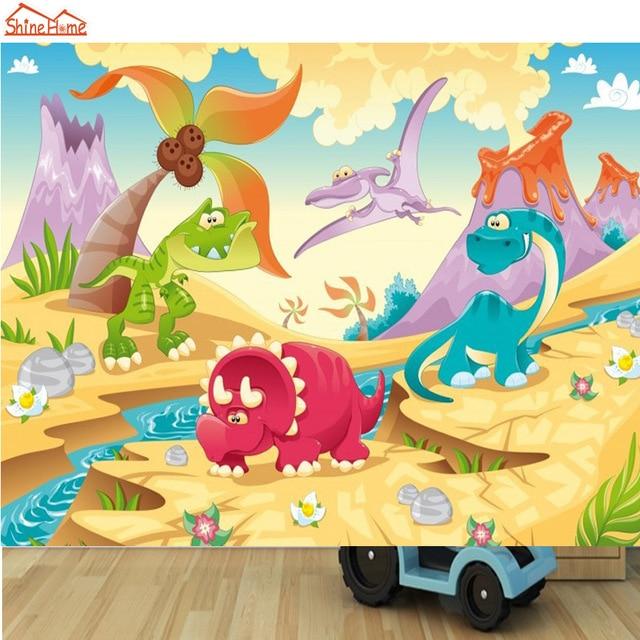 ShineHome DIY Cartoon Cute Dinosaur Animals Mural Rolls Wall Paper For 3D Living Room Wallpaper