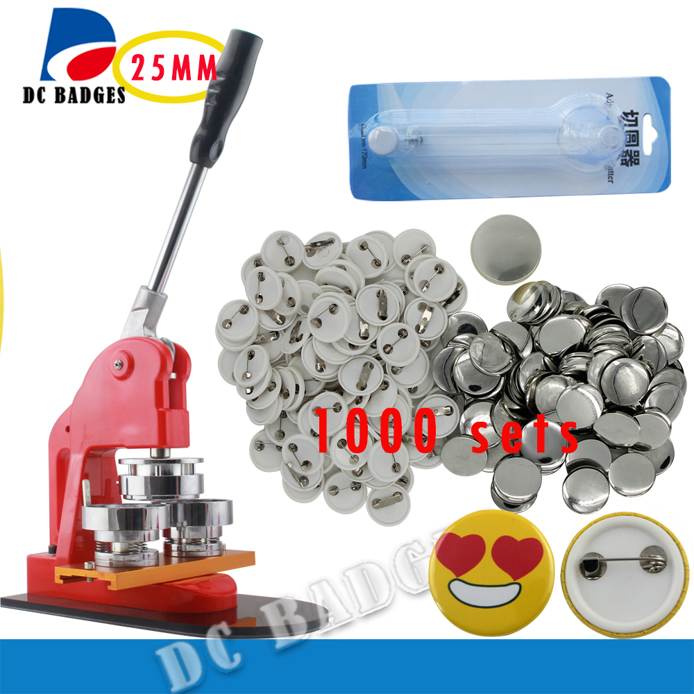 Free Shipping 1(25mm) Button Badge Maker + Adjust Circle Cutter+1000 Plastic Pin Badge Buttons Material free shipping new pro 1 1 4 32mm badge button maker machine adjustable circle cutter 500 sets pinback button supplies