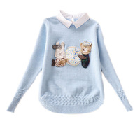 Girl Sweaters For Kids 2016 Pullover Kids Shirt Turn Down Collar Winter Pullover Girls Cartoon Printed