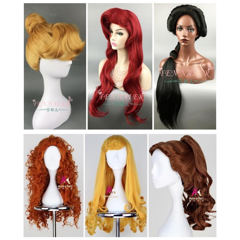 Cosplay Wig Belle Merida Moana Tiana Ralph Rapunzel Internet Breaks Jasmine Ariel Snow-White