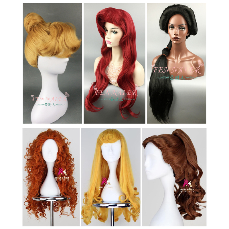 Ralph Breaks The Internet Cosplay Wig Princess Rapunzel Belle Aurora Merida Moana Cinderella Jasmine Ariel Tiana Snow White Hair
