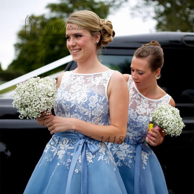 Vestido de Festa de Casamento Bruidsmeisjes jurk azul chá de comprimento vestidos de dama de honra Vestido de Festa vestidos de Casamento de Organza 2016