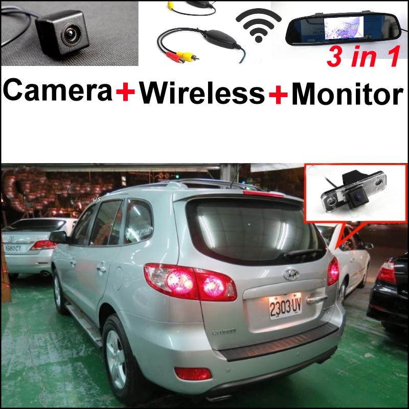 3 in1 Special Camera + Wireless Receiver + Mirror Monitor Easy DIY Back Up Parking System For Hyundai Santa Fe 2000~2012 wireless pager system 433 92mhz wireless restaurant table buzzer with monitor and watch receiver 3 display 42 call button