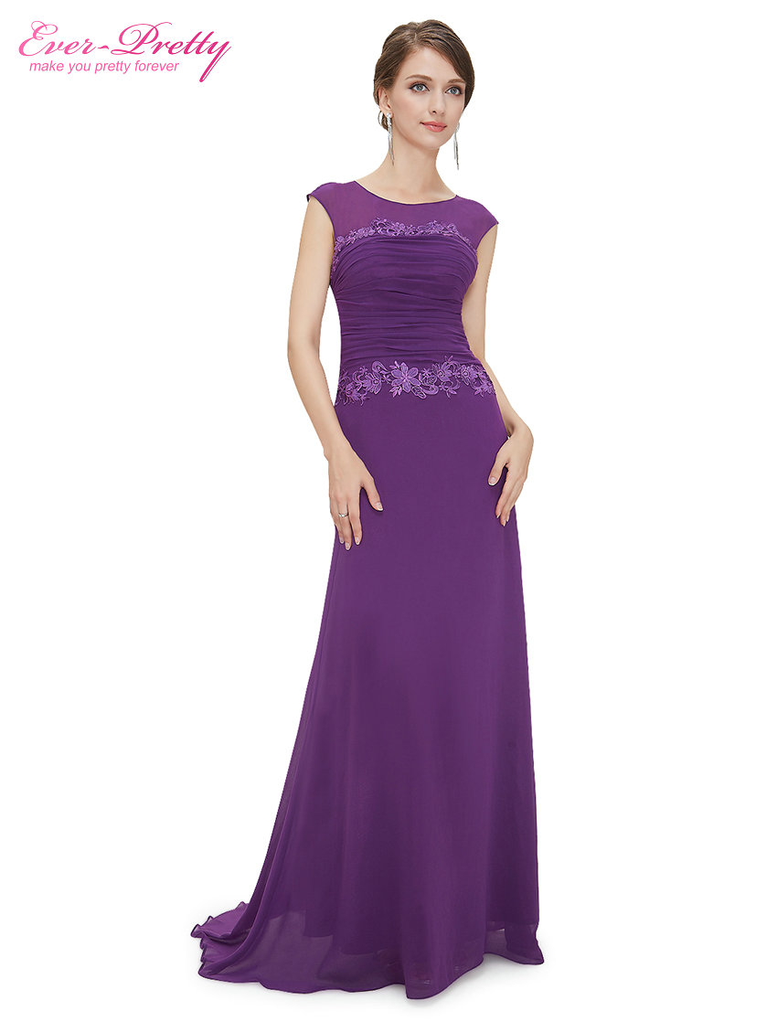 Clearance Sale Party Dresses Ever Pretty HE08369 Women Trailing Round Neck Ruched Long Elegant 2017
