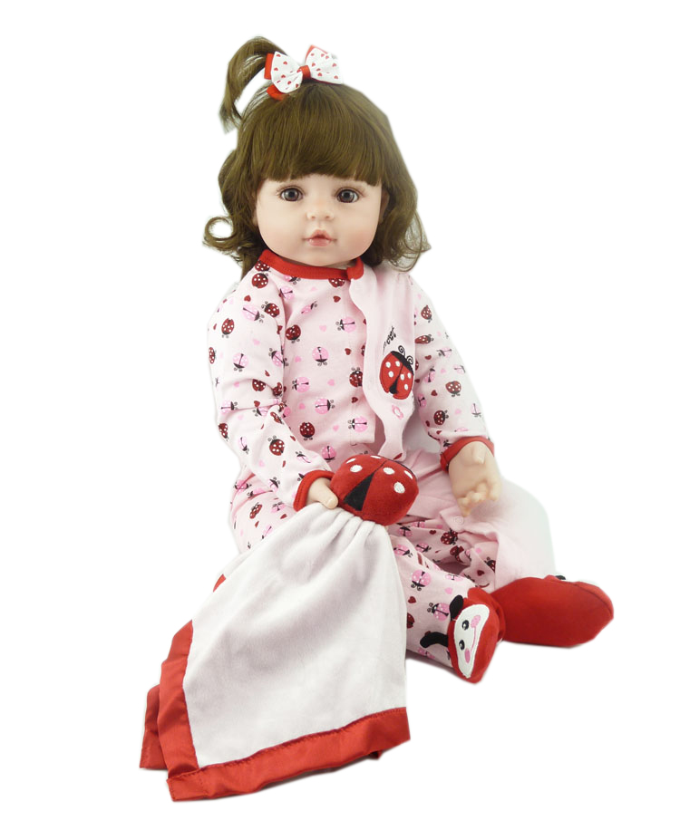 Pursue 24/60 cm Soft Cloth Body Vinyl Silicone Reborn Toddler Princess Girl Baby Doll Toys for Children Girls Boy Birthday Gift купить