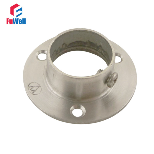 2pcs 25mm Flange Pipe Bracket 17mm Height Hanging Clothes Rod Seat Hanger  Flange Bracket Closet Rod