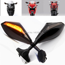 Бесплатная доставка черный мотоцикл из светодиодов сигнала поворота интегрированы зеркала для Suzuki Katana GSX-R 600 750 1000 1300