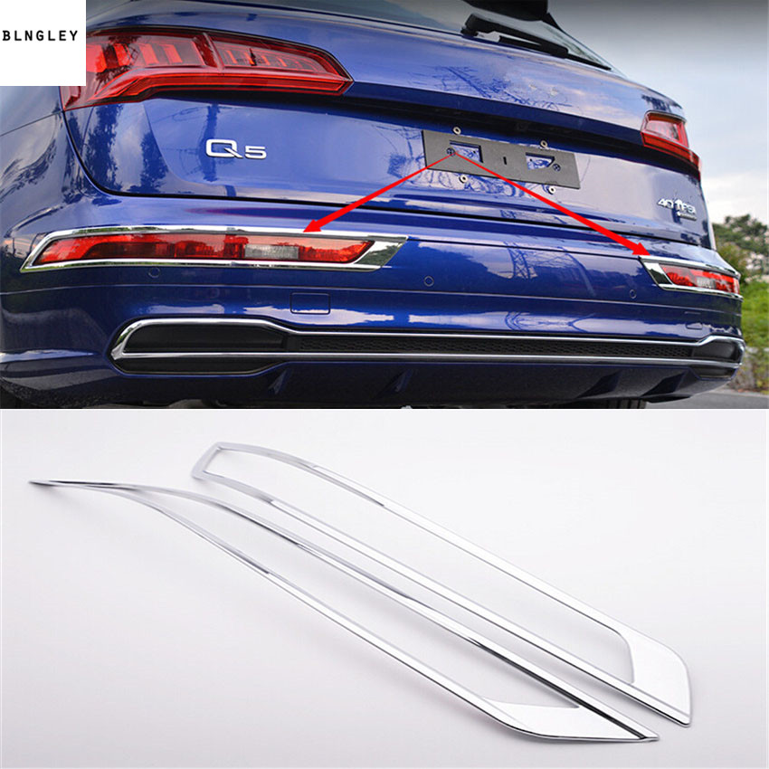 Free shipping 2pcs/lot ABS Chrome car back rear Fog light lamp decoration cover for 2018 AUDI Q5 car accessories
