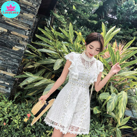 2019 Summer New Female Temperament White Super Fairy First Love   Retro Short Lace Travel Holiday Dress