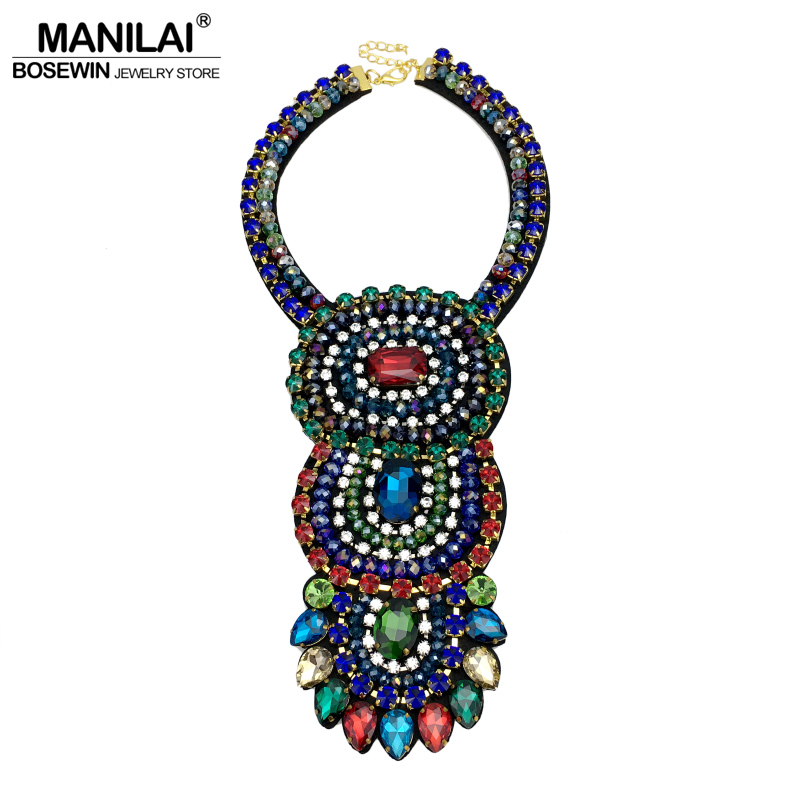 MANILAI Eye-catching Luxury Crystal Women Wedding Necklaces Fashion Jewelry Handmade Collar Choker Statement Necklaces 2018 manilai trendy metal hollow torque choker necklaces women indian punk geometric collar statement necklace jewelry accessories