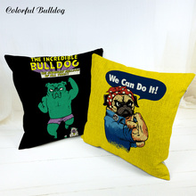 Cartoon Bulldog Fitness Cushion Case We Can Do It Star Pugs Camping Large Cotton Linen Houseware Decorative Autumn Pillow Covers
