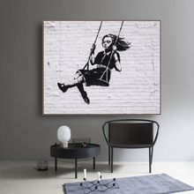 Laeacco Canvas Calligraphy Painting Little Lovely Girl Swing Posters Prints Wall Art Pictures for Living Room Home Decoration