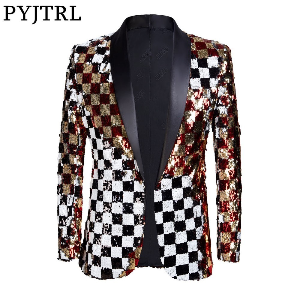 PYJTRL Brand New Men Double sided Colorful Plaid Red Gold White Black Sequins Blazer Design DJ Singer Suit Jacket Fashion Outfit