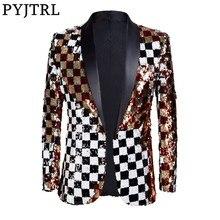 PYJTRL costume pour homme, nouveauté, Double face, Plaid coloré, rouge, or, blanc, noir, à paillettes, Design, veste de chanteur DJ, tenue à la mode