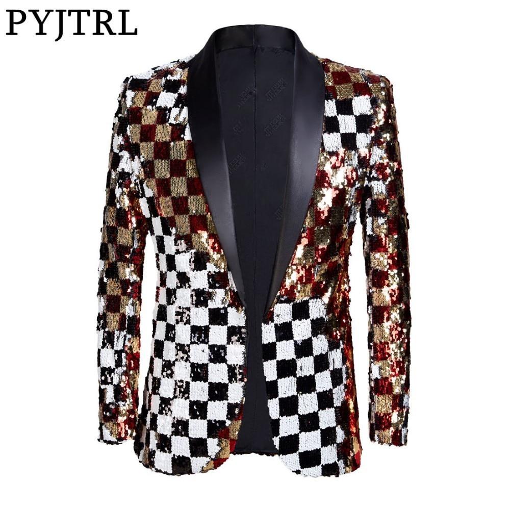 PYJTRL flambant neuf hommes Double face coloré Plaid rouge or blanc noir paillettes Blazer conception DJ chanteur costume veste mode tenue