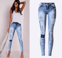 2016 Women Fashion Autumn Slim Little Feet Multi holes Blue Patch Stretch Pencil Jeans Women Casual