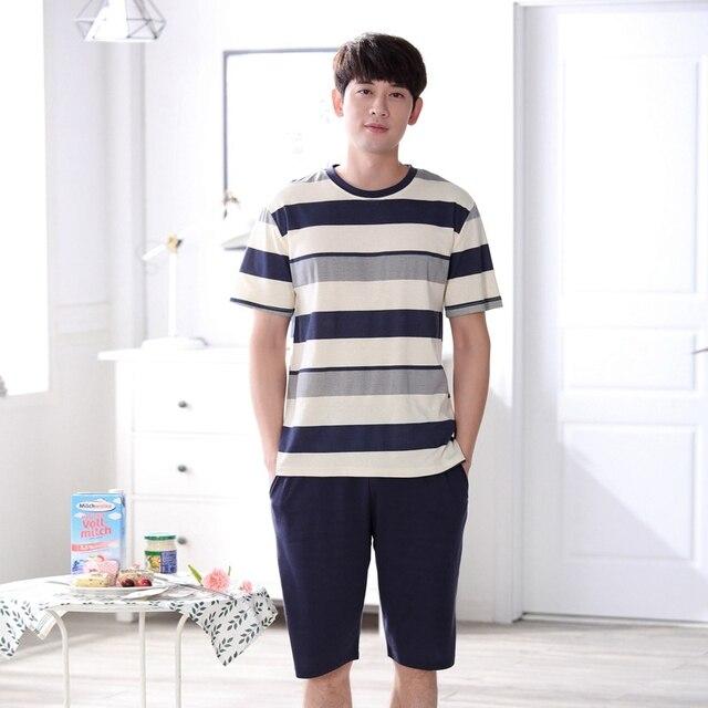 Летние Для мужчин пижамный комплект в полоску с круглым вырезом Рубашка с короткими рукавами для мальчиков хлопок Повседневное пижамные комплекты для мужчин Для мужчин Домашняя одежда Для мужчин костюмы